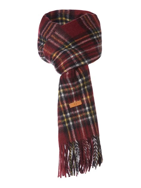 fred perry woven tartan scarf in purple for lyst