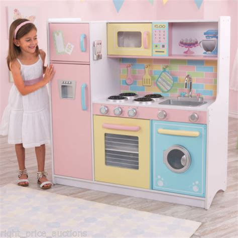 kid craft play kitchen kidkraft deluxe culinary wooden pastel childs