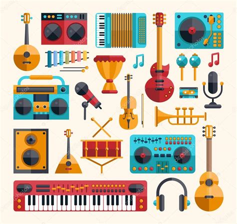 a pattern of notes used in indian music set of modern flat design musical instruments and music