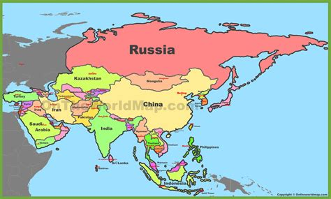 map of countries of asia map of asia with countries and capitals