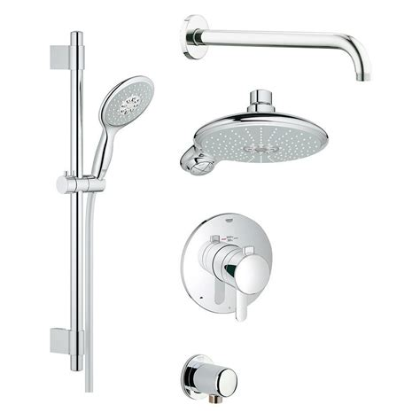 Shower Ideas For Bathroom Bathroom Grohe Wall Mounted Chrome Shower System Set With