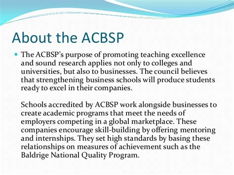 Acbsp Accredited Mba Programs by Business School Accreditation Organization Also Benefits