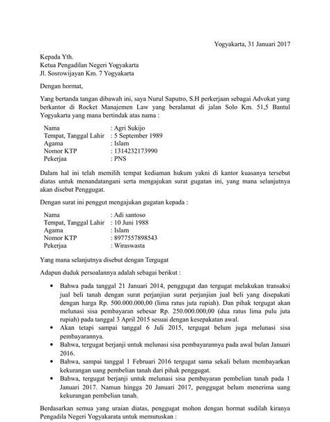 Format Surat Gugatan Cerai Pengadilan Negeri | format gugatan cerai pengadilan negeri contoh surat