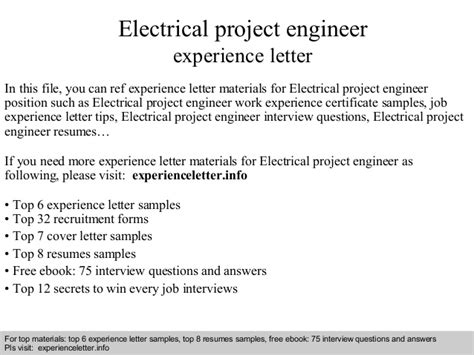 Work Experience Letter For Electrical Engineer Electrical Project Engineer Experience Letter