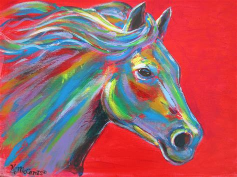 colorful horses original gorgeous colorful expressionist