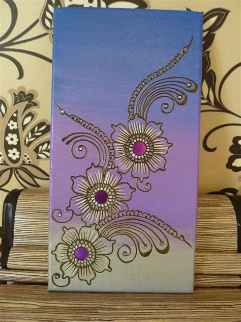 henna design on canvas purple henna and floral on pinterest