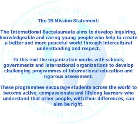 stanley mission statement international baccalaureate welcome