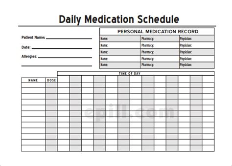 medication template medication schedule template 14 free word excel pdf