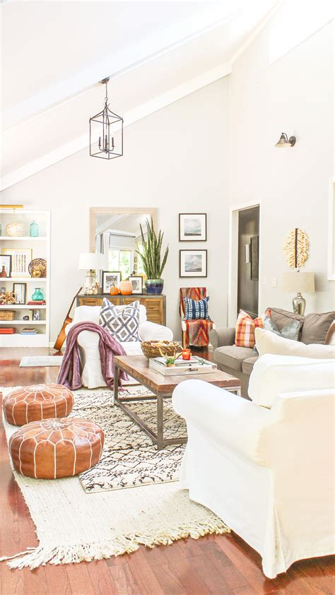 house tour living room firmly held boho chic fall home tour and decor tips fall decor