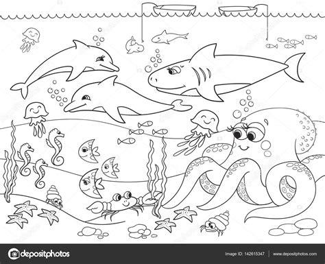 imagenes animales marinos infantiles fondo del mar con animales marinos vector para colorear