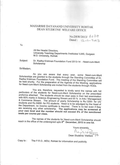 Permission Letter For Higher Studies From Employer Maharshi Dayanand Rohtak
