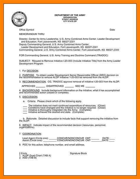 Memo Template On Pages 6 Army Memo Format Portfolio Covers