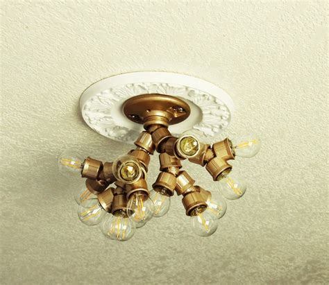 diy ceiling light fixture made with branched out socket