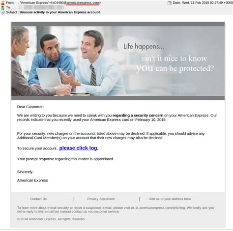 format email american express american express phishing sle cellopoint email