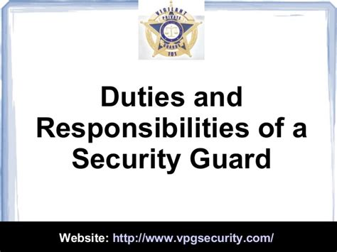 duties and responsibilities of a security guard