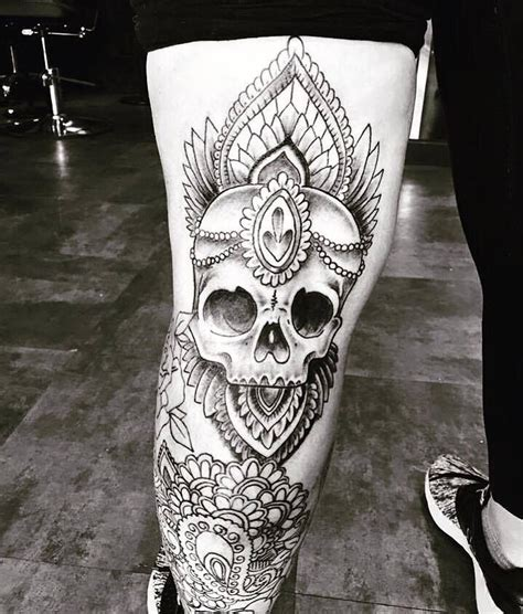 springfield mo tattoo skull and mandala by kelsey at ink ink springfield