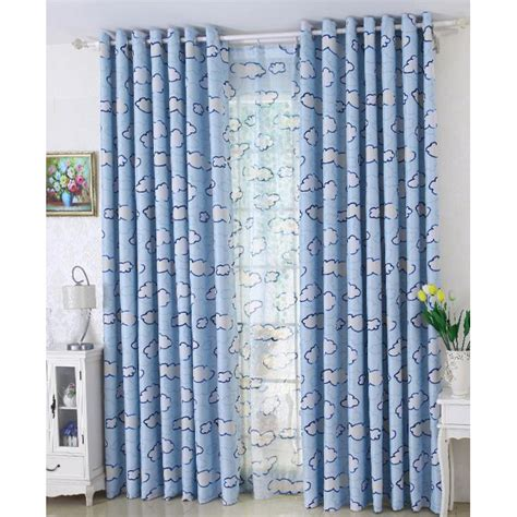 long nursery curtains blue cloud patterned print polyester insulated long