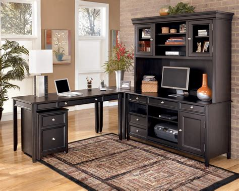 Black Home Office Furniture Collections Carlyle Large Office Credenza W Large Hutch H371 Office Furniture