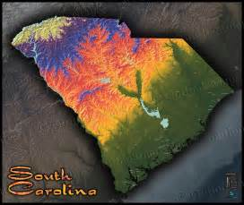 south carolina terrain map artistic colorful topography