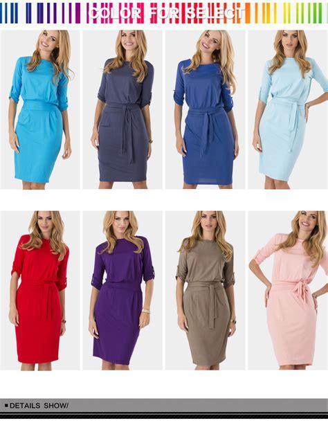 44155 Brown Autumn Length S M L Dress bandage neck knee length dress uniqistic