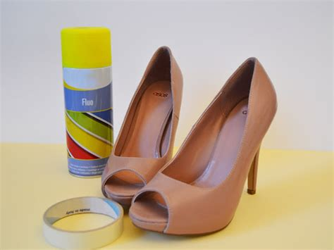 diy shoe spray a matter of style diy fashion how to diy neon shoes