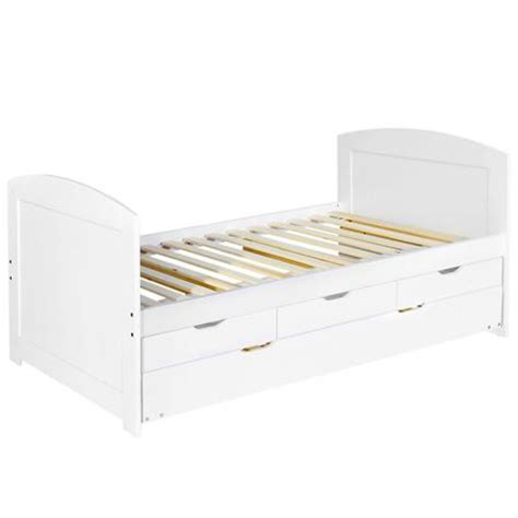 White Bed Frame With Drawers Wooden Bed Frame Pine Wood With Drawers Single White Sales