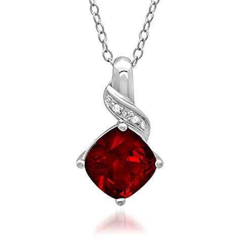Ruby Pendant Silver Necklace ruby jewelry for xpressionportal