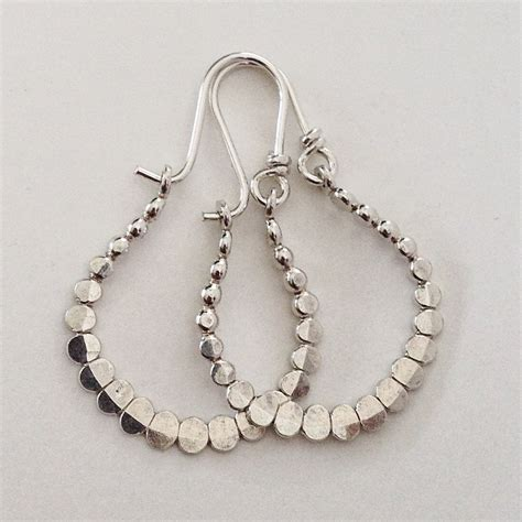 Handmade Silver Jewelry Etsy - beaded handmade sterling silver earrings hoops by