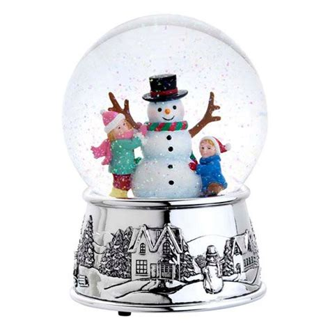 musical snowman snow globe reed barton 3055 building a snowman snow globe 6 5 inch plays jingle bells