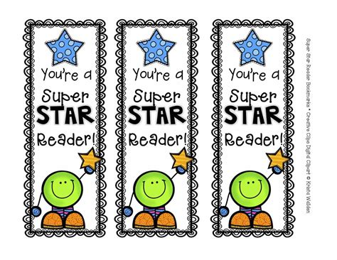 printable bookmarks the creative chalkboard free super star reader bookmarks