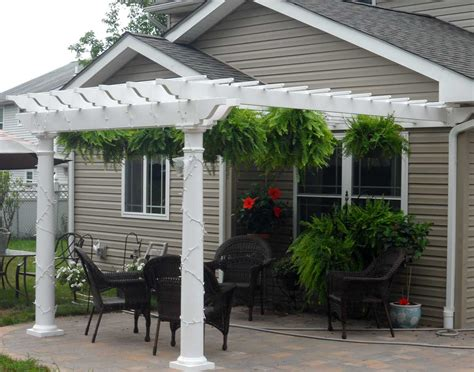 Pergolas Attached To House Vinyl 2 Beam Wall Mount Attached Vinyl Pergola Kits
