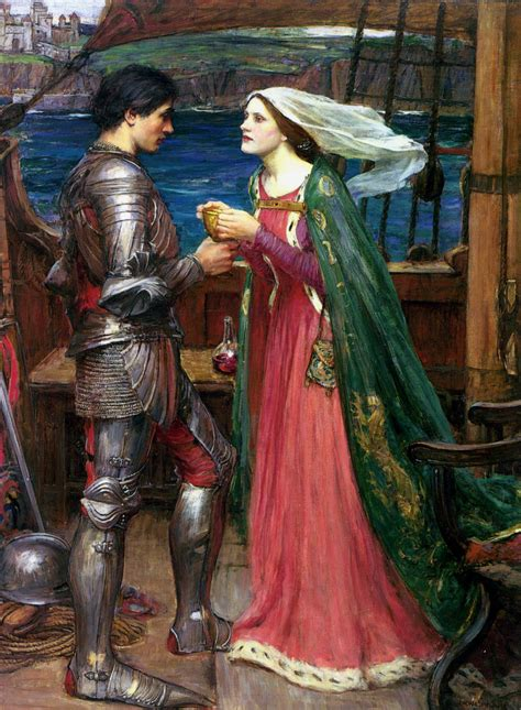 art the pre raphaelites their pre raphaelite art tristan and isolde with the potion j w waterhouse 1916