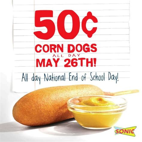 sonic 50 cent corn dogs 50 cent corn dogs at sonic on may 26 2015 brand