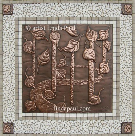 kitchen backsplash metal medallions falling leaves backsplash medallion tile accents