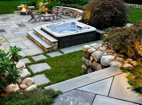 Backyard Spa Landscaping Ideas with Backyard Patio Ideas With Tub Landscaping Gardening Ideas