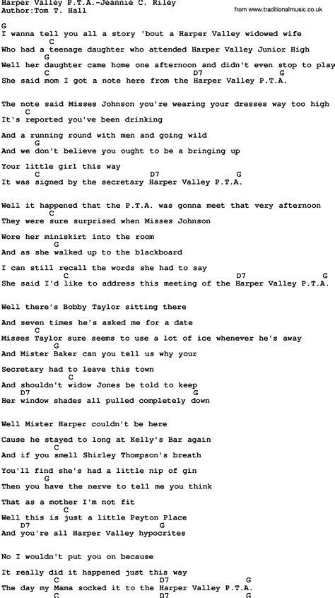 Printable Lyrics To Harper Valley Pta | country music harper valley pta jeannie c riley lyrics and