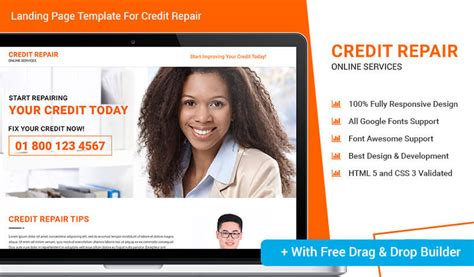 Credit Repair Ppc Landing Page Design Template With Free Builder To Boost Your Credit Repair Ppc Landing Page Templates