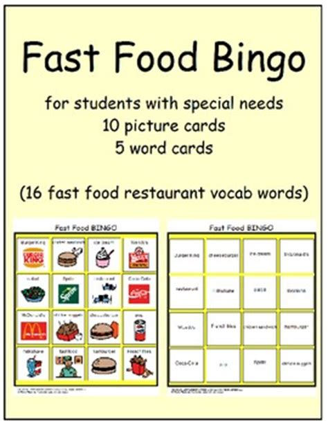 Fast Food Gift Card - fast food bingo cards special education multi needs autism tpt