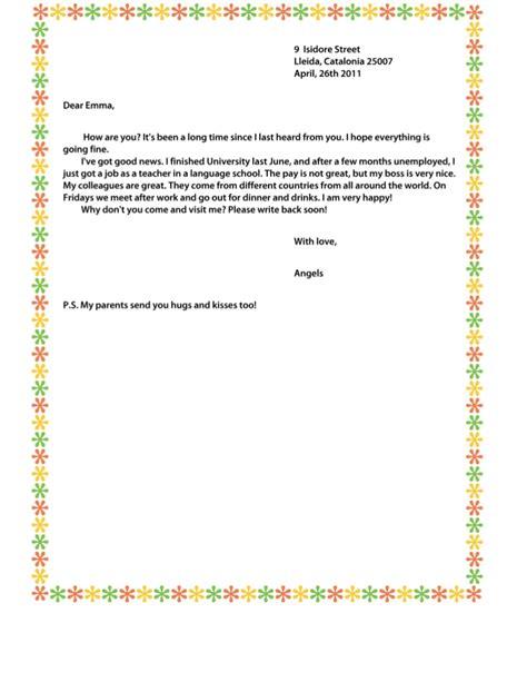 Letter Unformal informal letter