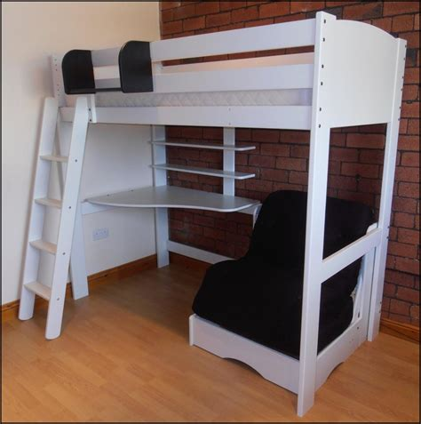 bedroom size loft bed with desk and futon chair
