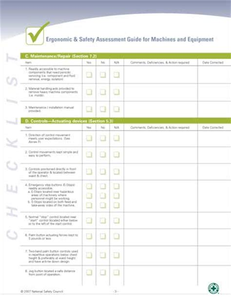 ergonomic assessment template pin equipment maintenance form on