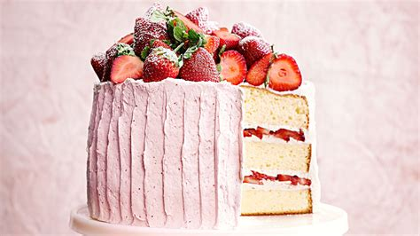 New Home Kitchen Design Ideas vanilla sponge cake with strawberry meringue buttercream