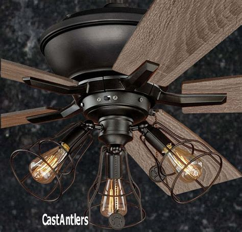B 52 Ceiling by 52 Inch Edison Rustic Industrial Lodge Cage Ceiling Fan