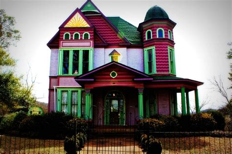 colored houses plantation victorian home house colorful color pink purple