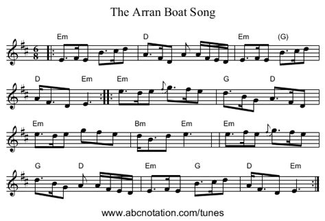 arran boat song sheet music misov aran biography