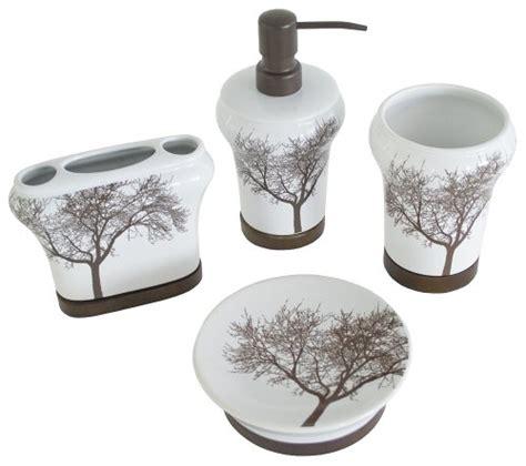 Splash Home 4 Piece Tree Bathroom Accessory Set Ceramic Splash Bathroom Accessories