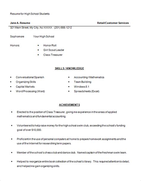 resume summary exles for highschool students 10 high school resume templates free pdf word psd