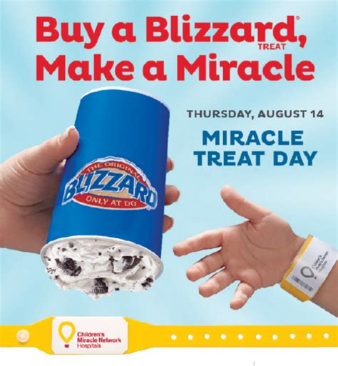 Miracle Day Treat Your Self To A Dairy Blizzard And Help Cmn Miracle Treat Day Is Thursday August 14th