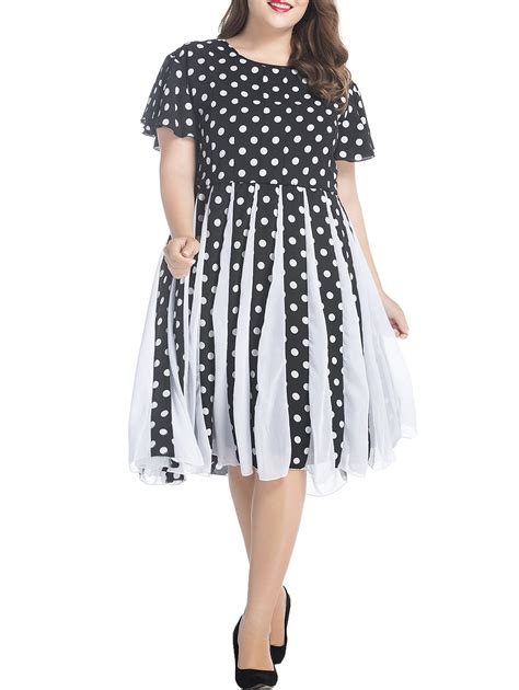 plus size white swing dress plus size polka dot chiffon swing dress in white and black