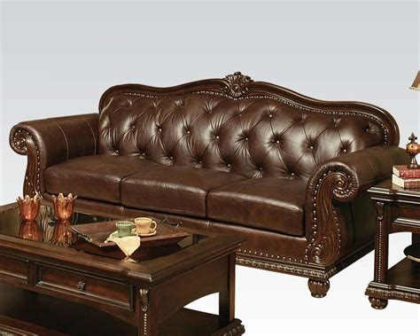traditional couches traditional sofa in cherry anondale by acme furniture ac15030